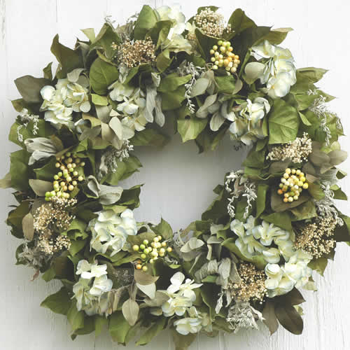Green and White Winter Wreath